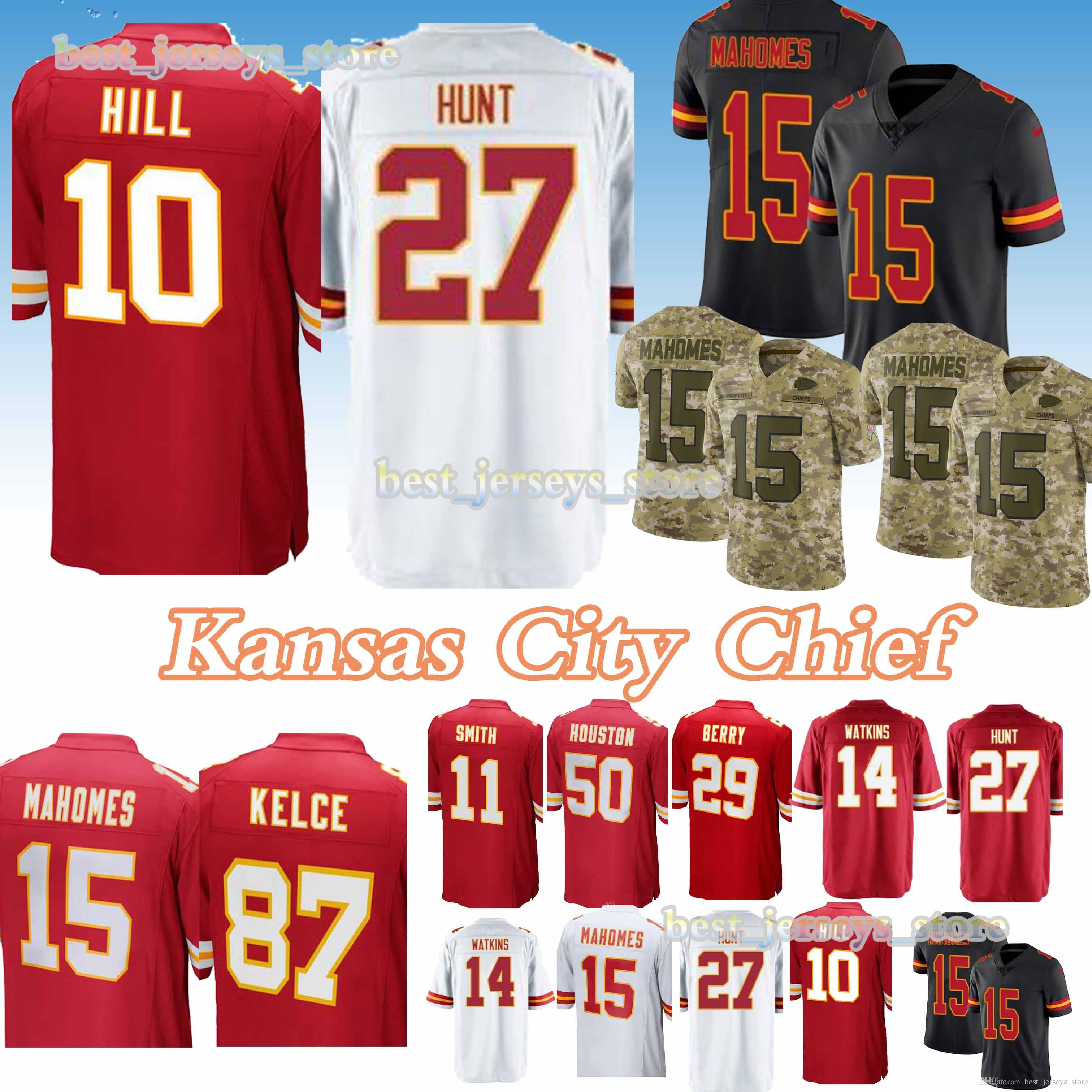 a44b5bc6eda 2019 50 Justin Houston 10 Tyreek Hill 87 Travis Kelce Kansas City Jerseys  Chief 15 Patrick Mahomes 14 Sammy Watkins New Jersey 2019 Design Sweat From  ...