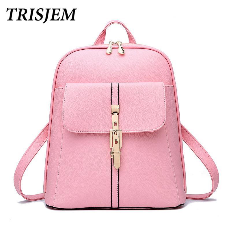 c63c06c112 2019 FashionTRISJEM 2018 Pink School Backpack For Girls Female Back Packs  Travelling Bags Woman Mochila Feminina Escolar Mochila De Couro Kelty  Backpack ...