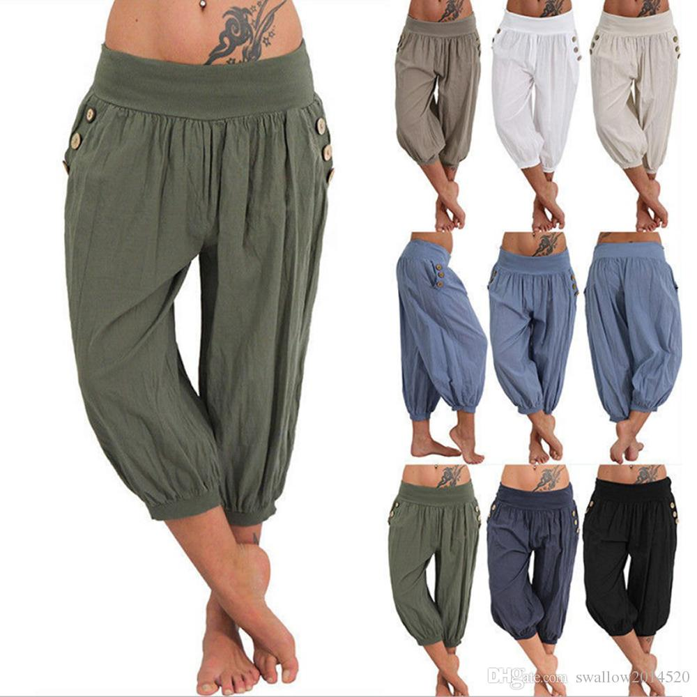 Womens Palazzo Harem 3/4 Pants Leggings Baggy Aladdin Boho Hippy Trousers Loose Linen Cotton Pants Capris S-5XL