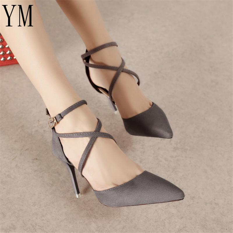 910e54162e3 Designer Dress Shoes Woman Pumps Cross Tied Ankle Strap Wedding Party  Pointed Toe Dress Women High Heels Suede Ladies 4Colour Womens Loafers Mens  Leather ...