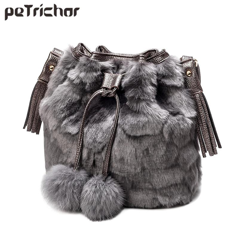 Fashion Faux Fur Women Shoulder Bag Leopard Bucket String Wool ... 89784fa8251c0