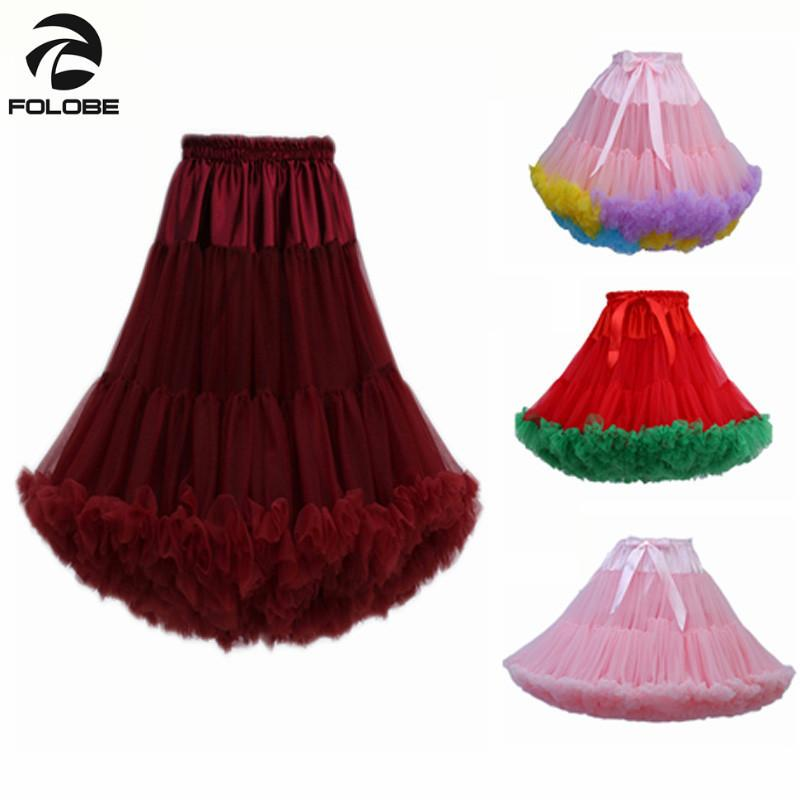 Folobe Fashion Multi Color Fluffy 55cm Womens Girls Soft Tutu Skirts Ballerina Pettiskirt Ballet Party Dance Skirts Hot Tt009 MX190729