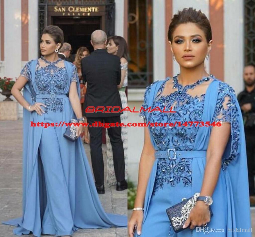 Yousef aljasmi Jumpsuits Evening Dresses With Wrap 2019 Beaded Applique  Formal Party Gowns Saudi Arabic Long Prom Dress Suits robe de soirée