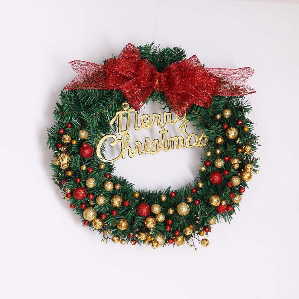 Hot Sale Christmas Wreath Round Handcrafted New Year Elegant Holiday Wreath Pine Door Wall Garland Diy Decoration 18oct