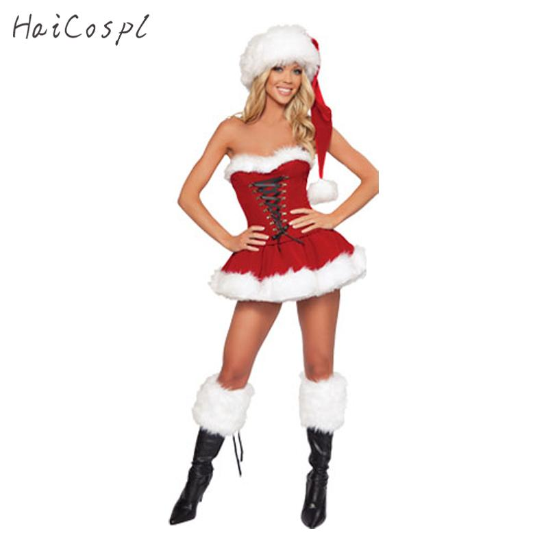 costumes for christmas Plus Size New Year Christmas Costume for Women Red Sexy Dress Adult Female Fancy Cosplay +Hat