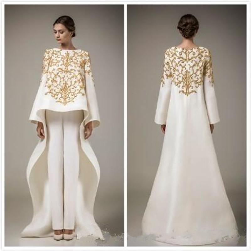 2019 New Dubai Arabic Dresses Embroidery Stain Evening Dresses With Long Sleeve Middle East Prom Dress, Coat + Trousers Vestido de festa