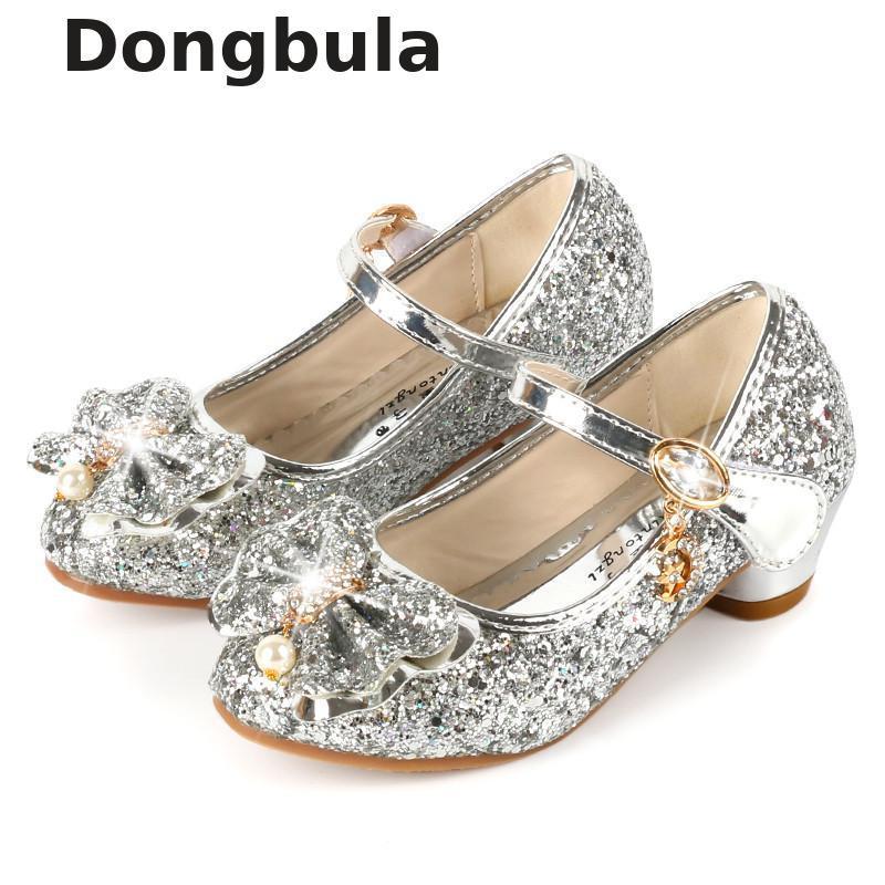 d0a6c75d Compre Zapatos Infantiles Para Niñas Princesa De Tacón Alto Sandalias  Zapatos De Moda Para Niños Brillo De Cuero Vestido De Fiesta Para Niñas De  Moda Baile ...
