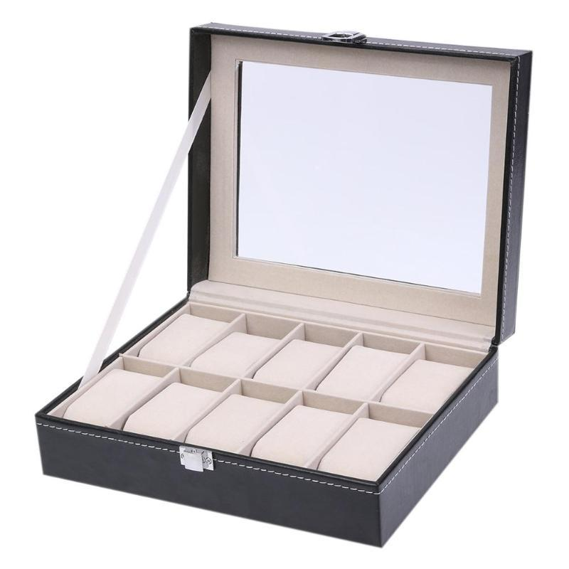 2019 Fashion 10 Grids PU Leather Watch Boxes Storage Organizer Box Luxury Jewelry Ring Display Watch Case Black Display Case Box