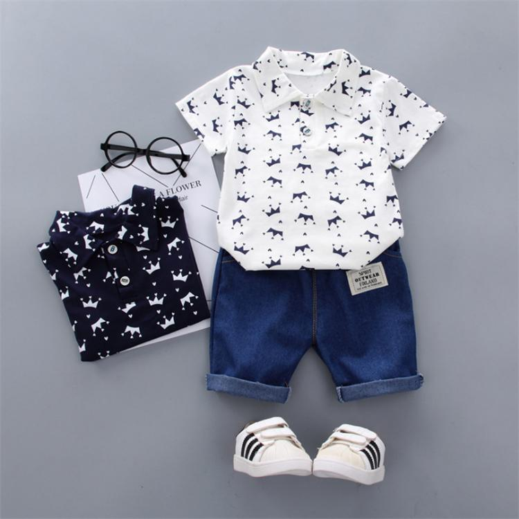kids clothes Outfits 3 colors Boy Polo shirt suit short-sleeved printed T-shirt Tops+Denim Shorts 2 pcs set kids designer clothes boys JY389