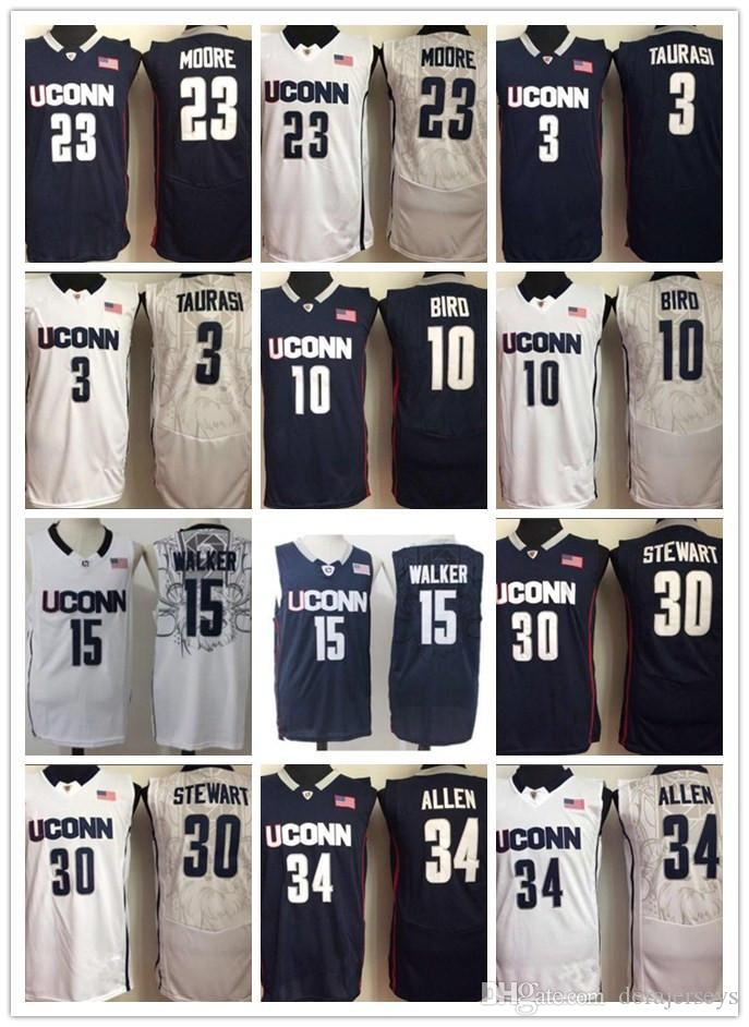 1d4fa8108a09 2019 Uconn Huskies College Jerseys 15 Kemba Walker 10 Sue Bird 3 Diana  Taurasi 30 Breanna Stewart Ray Allen White NAVY NCAA Basketball Jerseys  From ...