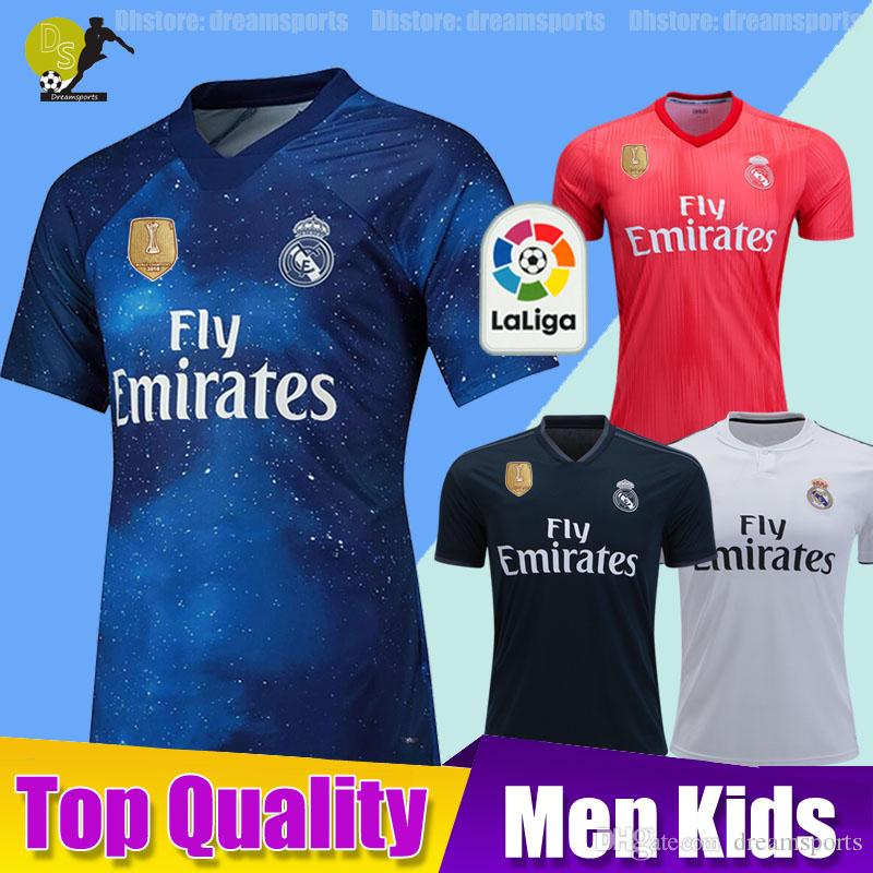 brand new 7661a 0f2a1 2018 2019 Real Madrid 4th EA Sports Soccer Jersey kit 18/19 Home MODRIC  MARCELO 3rd VINICIUS JR KROOS ISCO ASENSIO BALE Kids Football Shirts