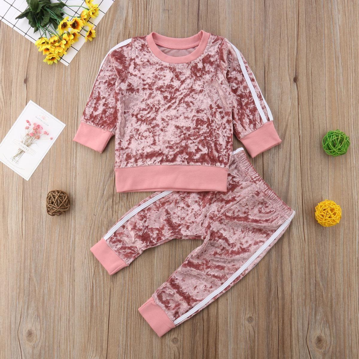 8d8596c7a1fa 2019 Kids Baby Boys Girls Sports Striped Velvet Suit Autumn Spring ...