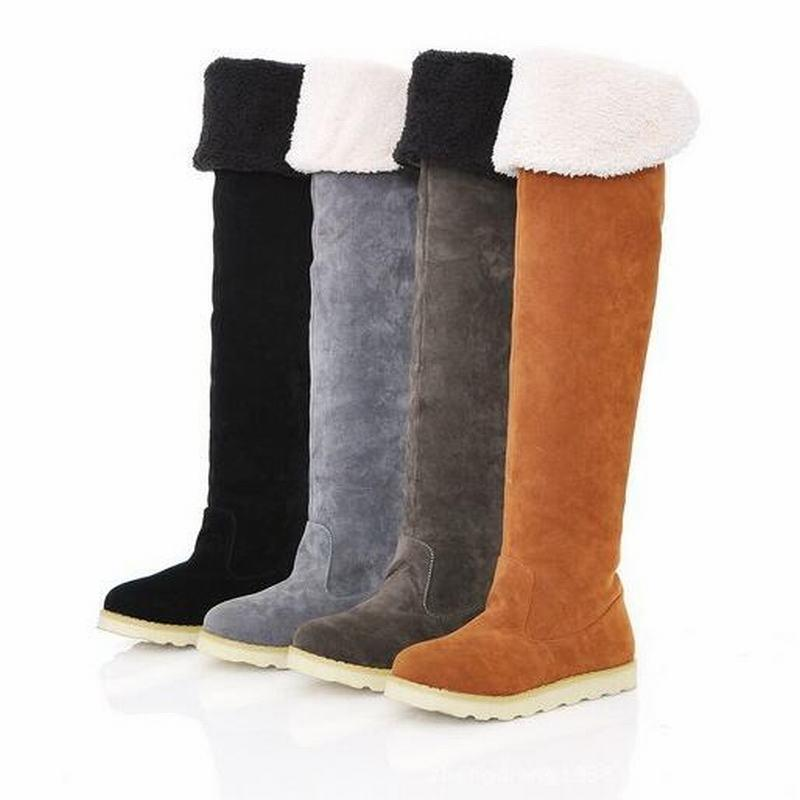 Warm Thigh High Boots Winter Women Over the Knee Boots Comfortable Suede Ladies Leather Long Boots Woman Shoes EUR Size:35-41