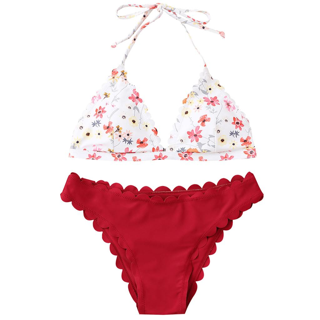 452c591d9340 ISHOWTIENDA Swimming Suit Biquini Women Print Push-Up Padded Bra ...