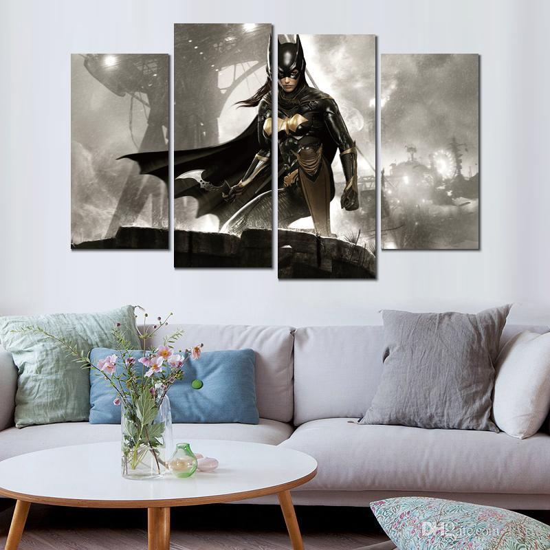 Affiche d'art impression sur toile batman arkham chevalier batgirl peintures murales pour la décoration