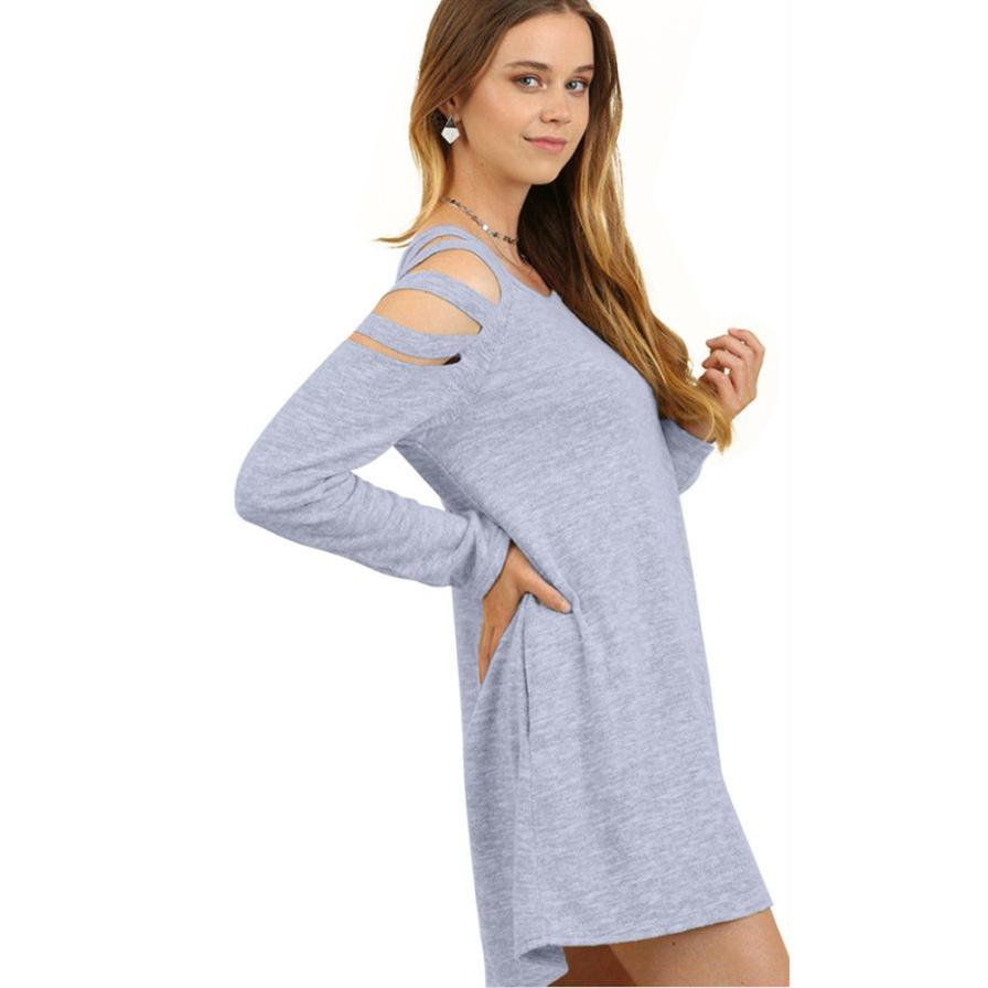 5931cd9a84da Simple Design Spring Ladies Long Sleeve Solid Mini Dress Summer Sexy Women  Hollow Out Off Shoulder Bodycon Party Dresses #Zer White Sundresses For  Women ...