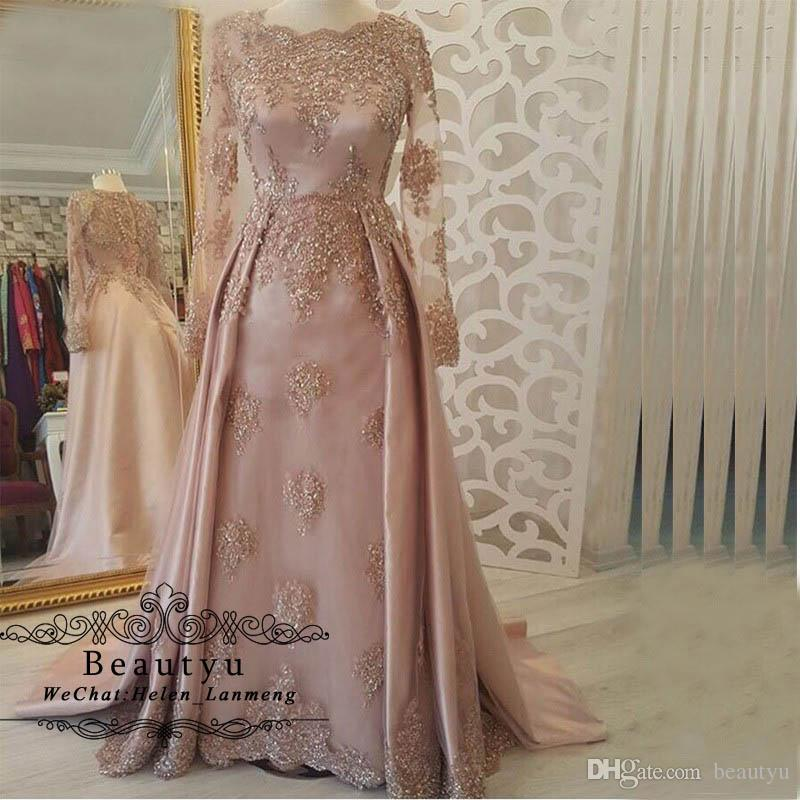 87e68ef46ad1 Saudi Arabic Muslim Evening Gowns Formal Dress Long Sleeves Blush Pink 2019  Kaftan Dubai Overskirt Lace Appliques Prom Party Dresses Size 18 Evening  Dresses ...