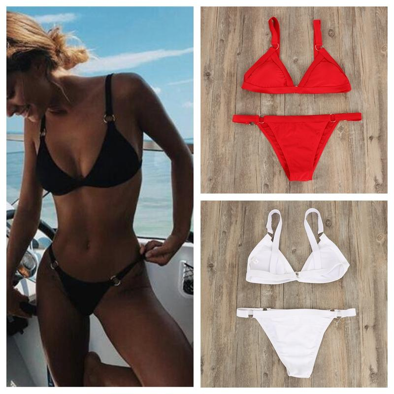 b033b4a7e6c80 2019 Metal Ring Solid Women'S Swimsuits Sexy Halter Bikini Set Paaded Wire  Free Swimwear Quick Dry Elastic Separate Female Swimsuit DBC DS0478 From ...