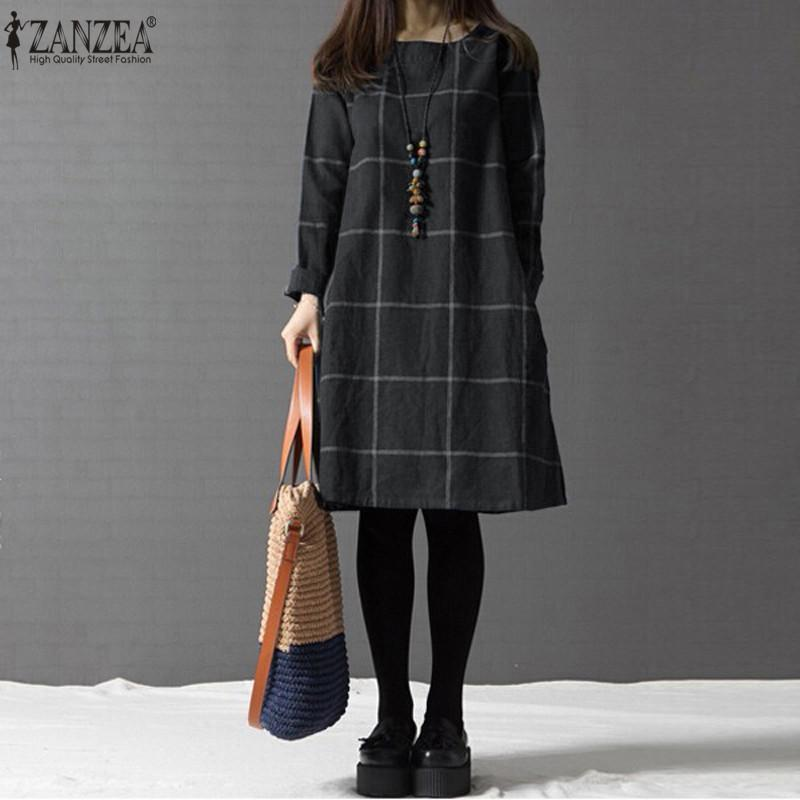 eb8ef9c813 2019 Zanzea Winter Dress Vestidos 2018 Women Plaid Plus Size 4xl Long Sleeve  Cotton Linen Knee Length Casual Shirt Dresses Robe Mujer Y19012201 From ...