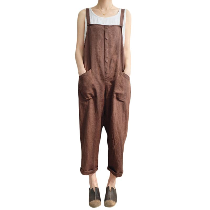 c2f5bd7c25 2019 Hot Fashion Women Girls Loose Solid Jumpsuit Strap Dungaree Harem  Trousers Ladies Overall Pants Casual Playsuits Plus Size 5XL From  Feeling02