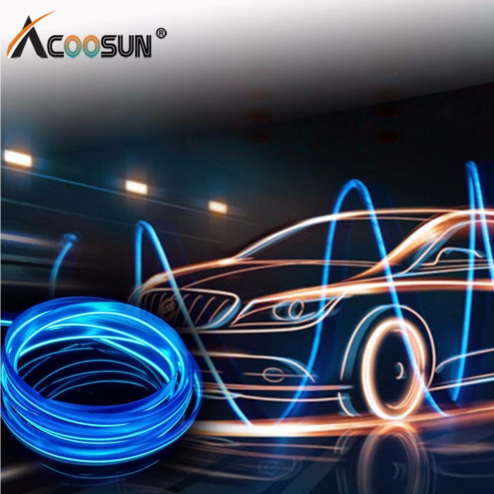 AcooSun 5V Led Car Atmosphere Lights 1M 2M 3M Car Styling DIY EL Cold Line Flexible Auto Decoration Light For Motorcycle Trucks