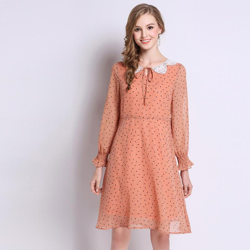 db023af0241cd Plus Size Dot Chiffon Bow Long Sleeve Tunic Dress Women Elegant Vintage  Sweet Office Party Fashion Beach Dress Lady Clothing Lace Summer Dress  Dresses ...