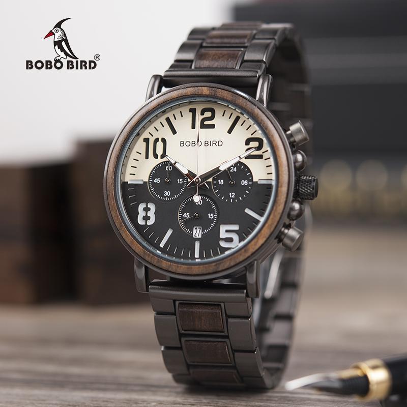 la moda più votata accaparramento come merce rara nuovo prodotto BOBO BIRD Orologi alla moda uomo di lusso in acciaio inox cinturino in  acciaio cronografo orologio relogio masculino in legno scatola regalo L-R25