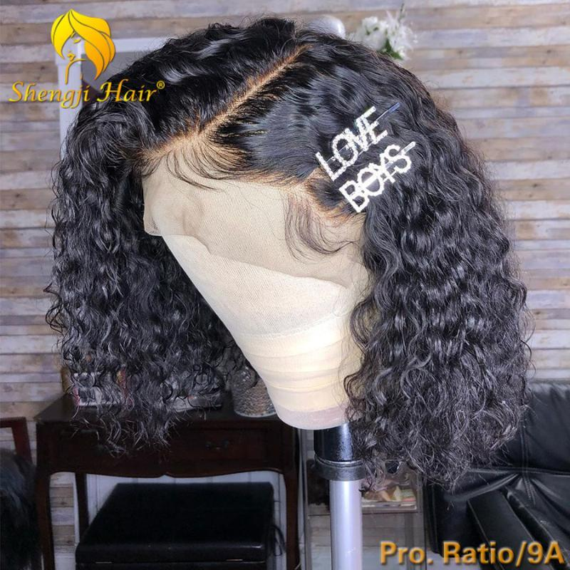 "4.5"" Short Bob Human Hair Wigs For Black Women 180% Brazilian Remy Hair Curly 360 Lace Frontal Wig Pre Plucked With Baby"