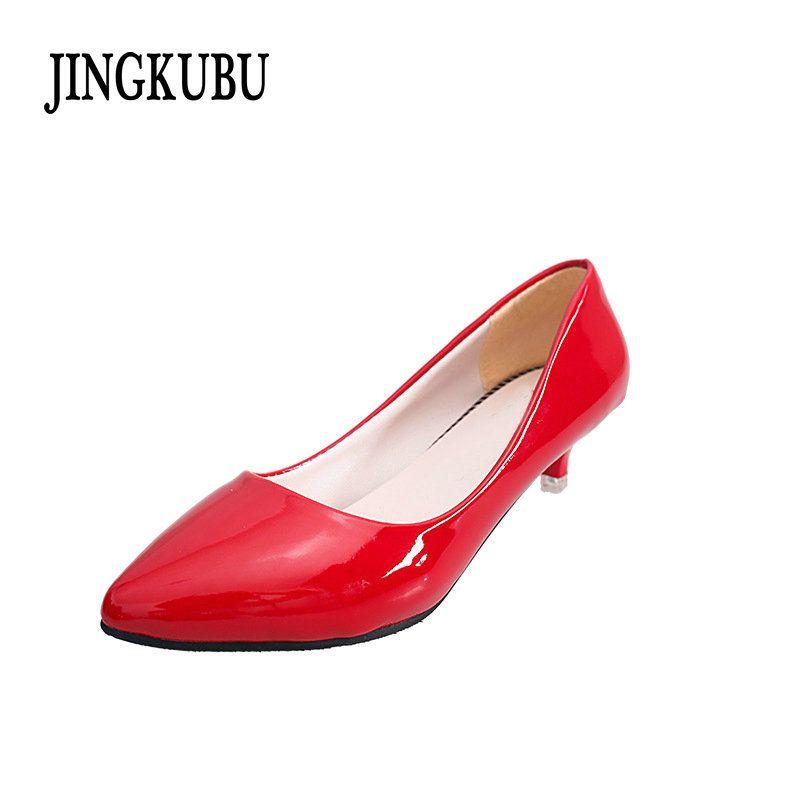 0c59fc2577 Designer Dress Shoes JINGKUBU 2019 New Single Classics High-Heels Women  Office Pumps White & Black Work Red Bridal Woman Y217