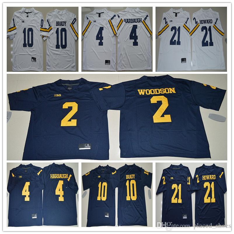2019 10 Tom Brady Jersey 2 Charles Woodson 4 Jim Harbaugh 5 Jabrill Peppers 21  Desmond Howard Michigan Wolverines Football College Jerseys From  Placed shoes ... 6082f2548
