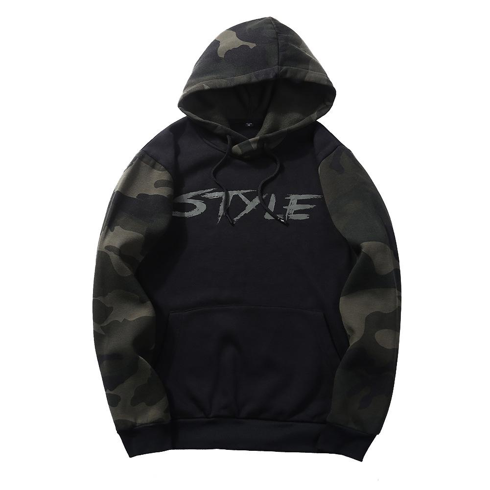 2019 Sweatshirts Men Hoodies With Hat Print Style Spring Autumn Loose Camouflage Patchwork Casual Tracksuit Male
