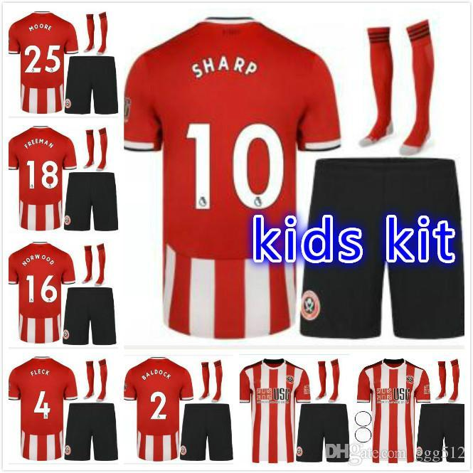Kinder-Kit 2019 2020 Sheffield United Fußball-Trikots 10 SHARP 9 CLARKE O'CONNELL Egan FLECK 21 DUFFY 18 FREEMAN Custom Home Fußball-Hemd