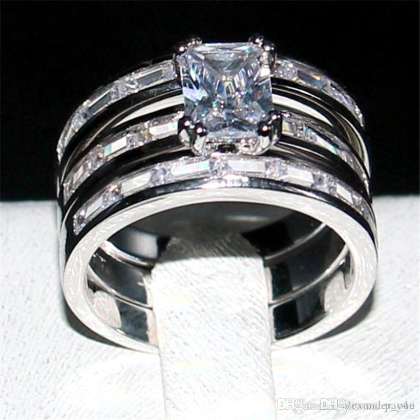2019 Pop Pay4u Fashion 10kt White Gold Filled Diamond Ring 3 In 1