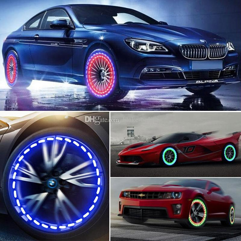 Solar Energy LED Car Auto Flash Wheel Tire Valve Cap Neon Daytime Running Light Lamp Motion Activated Cars Gas Cap Lamp Decoration
