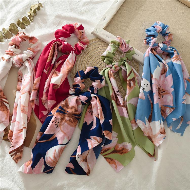 Summer Bright Rose Floral Hair Scrunchies Accessori per le donne Fasce per capelli Cravatte Ponytail Holder Gomma corda Arco lungo Hawaii Fascia B11