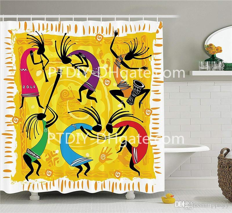2019 Kokopelli Decor Collection Dancing Playing Musical Instruments Figures On Tribal Style Patterns Artwork Polyester Bathroom Shower Curtain From Ptdiy1