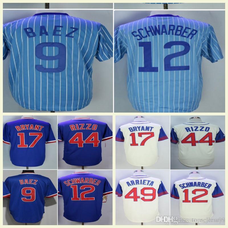 6e222d47a 2019 1942 Mens 12 Kyle Schwarber 9 Javier Baez 22 Jason Heyward 27 Addison  Russell 44 Tony Baseball Jerseys From E jerseys