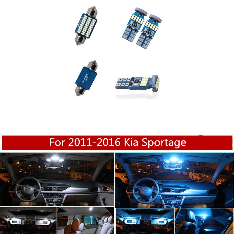 9Pcs White Ice Blue LED Lamp Car Bulbs Interior Package Kit For 2011-2016 Kia Sportage Map Dome Trunk Glove Box Light