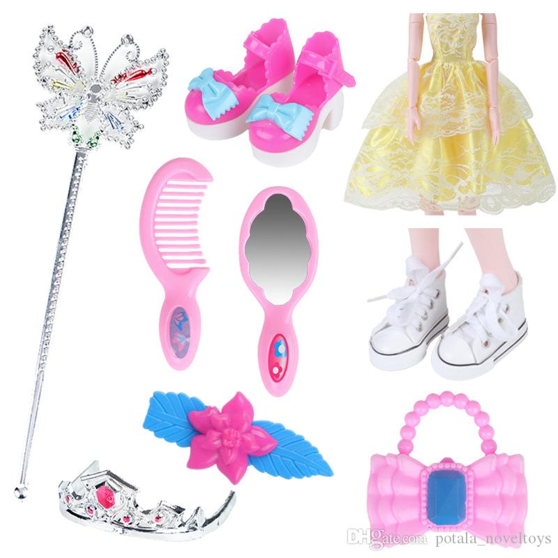 Accessories for Doll Set Fashion Beauty Toys for Bowknot Comb Dress Shoes Mini Bag Doll Accessory Kids Girls Birthday Gift 7PCS 11PCS Lot