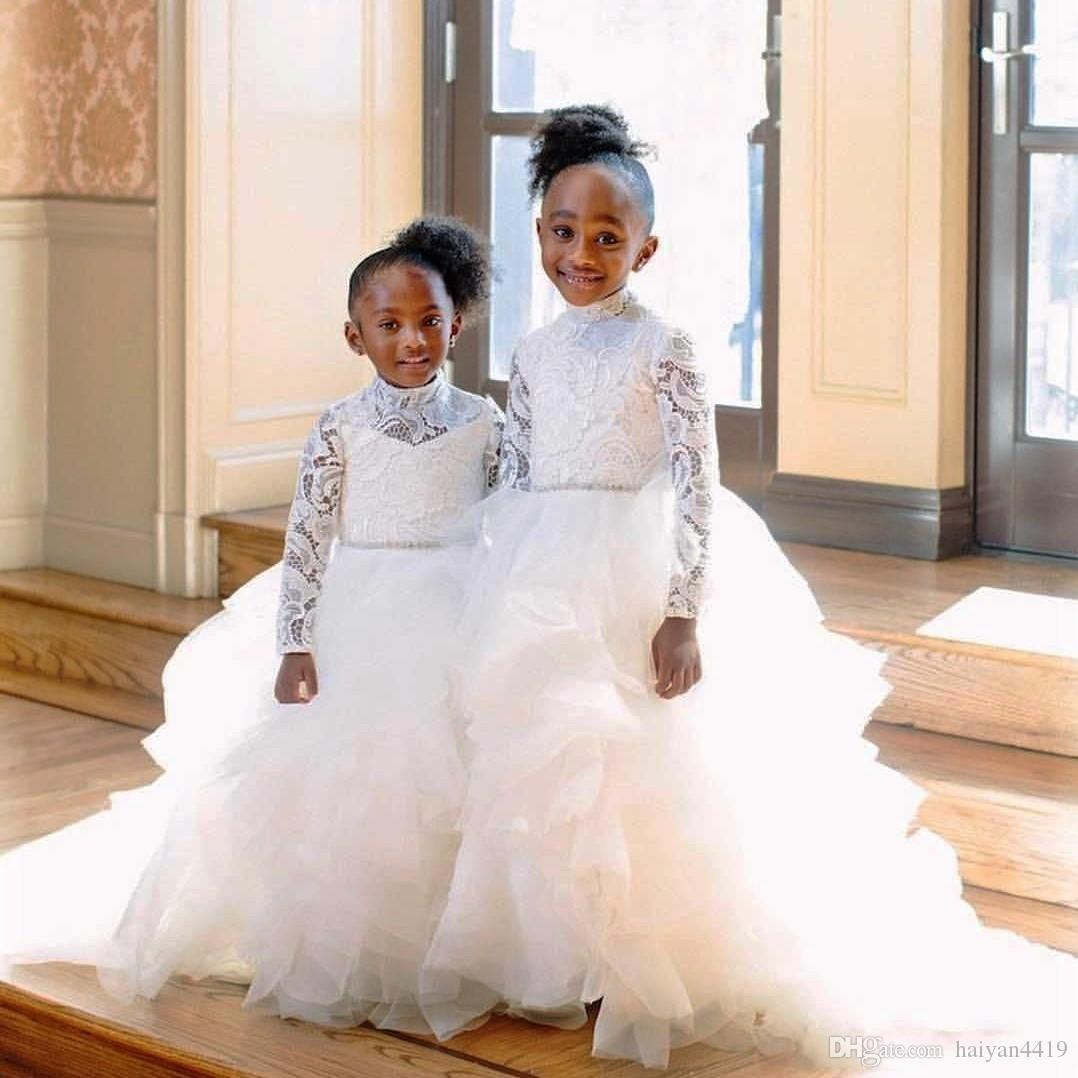 2020 Cheap African Flower Girl Dresses For Weddings High Neck Illusion Lace Appliques Tiered Ruffle Girls Pageant Dress Kids Communion Gowns