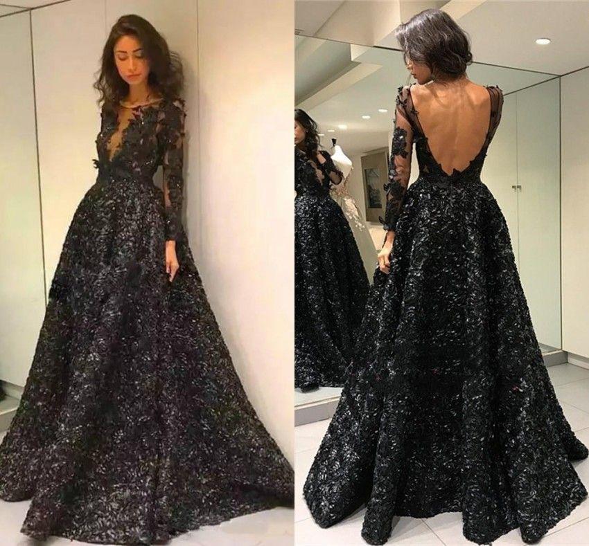 Black Long Sleeve Vintage Prom Dresses