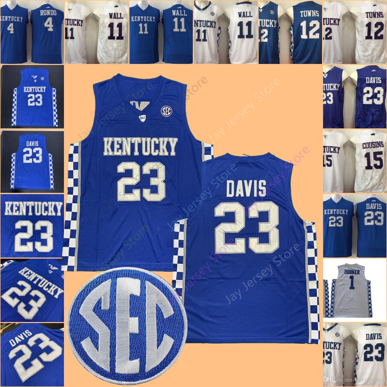 timeless design 5dae4 9a421 NCAA Kentucky Wildcats Basketball Jersey College Rajon Rondo John Wall  Karl-Anthony Towns DeMarcus Cousins Anthony Davis Brooker