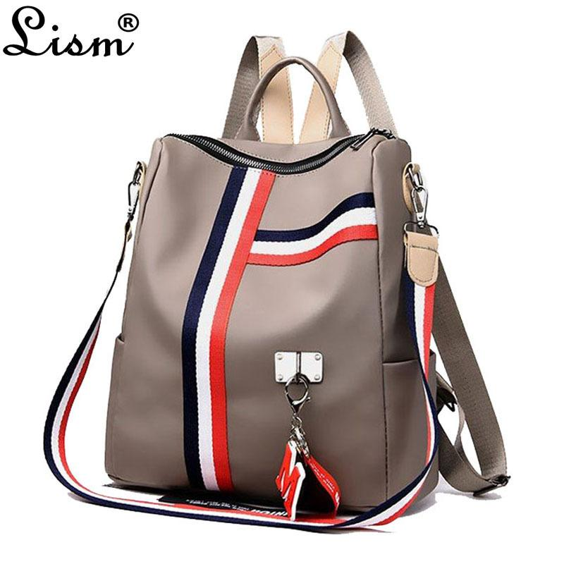 2018 Ladies Backpack Striped Oxford Cloth Ladies Shoulder Bag Ladies Backpack Teenager Girl Travel Bag Backpack Mochila Y190627