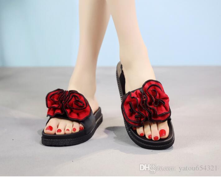 60a2f276e1c2 2019 Highquaity New Type Open Toe Slippers Female Summer Muffin Cake  Slippers Big Flower Home Thick Bottom Beauty Sandals Female Slippers For  Women Cheap ...
