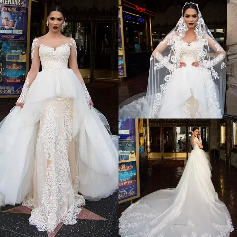 2018 Long Sleeve Wedding Dresses With OverSkirt Tiered Illusion Sweep Train Country Wedding Dresses Lace Applique Plus Size Bridal Gown