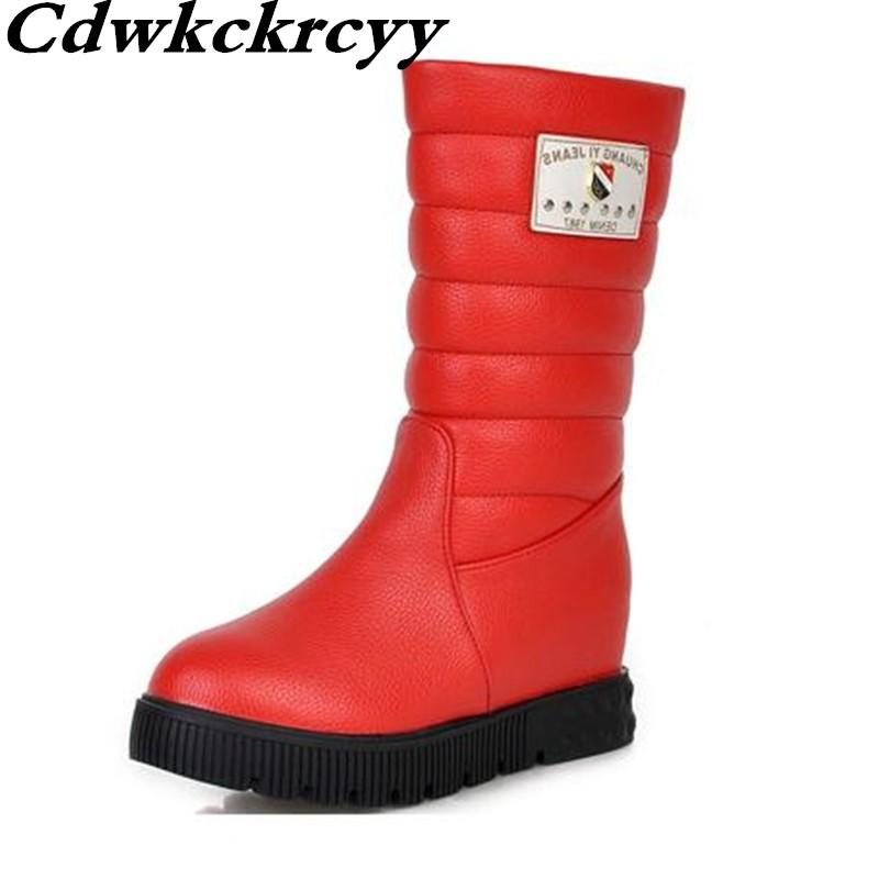 01360b090da5 Special Offer Winter New Pattern Minimalism Comfortable Women Boots  Internal Increase White Thick Bottom Keep Warm Snow Boots Rain Boots Mens  Shoes From ...