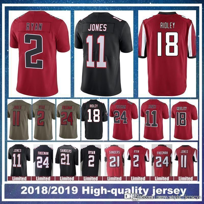 7c68e4a6 18 Ridley Atlanta Falcons jersey 2 Matt Ryan 11 Julio Jones 21 Deion  Sanders 24 Devonta Freeman