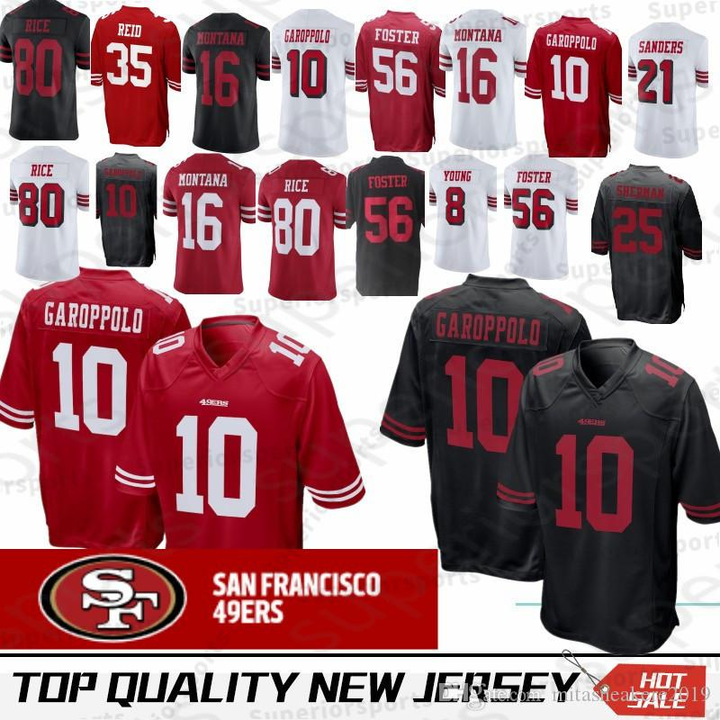 2019 San Francisco 10 Jimmy Garoppolo 49ers Jersey 16 Joe Montana 56 Reuben  Foster 80 Jerry Rice 25 Richard Sherman From Leejerseys a48218d72