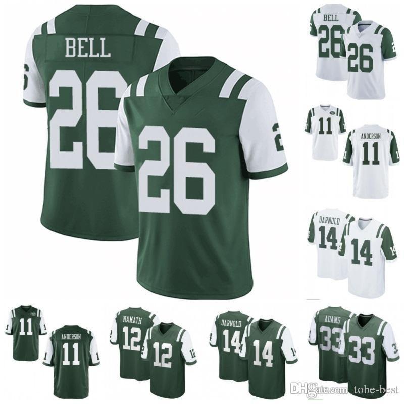 half off 8d363 8179e Cheap 2019 New 26 Le'Veon Bell Jets Jersey 14 Sam Darnold New York 33 Jamal  Adams 12 Joe Namath Jets Color Rush Limited Green White Sti