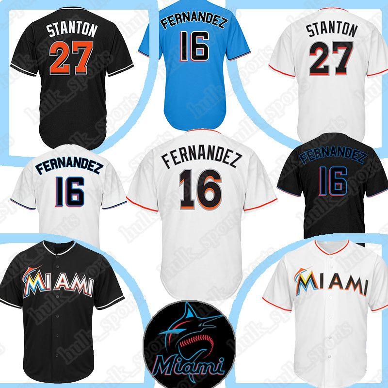best service 2092f 03e31 Miami 16 Jose Fernandez Marlins 27 Giancarlo jerseys Stanton Baseball  Jerseys 2019 can add 150th anniversary patch